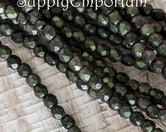 2mm Polychrome Olive Mauve Czech Fire Polished Round Beads, Polychrome Olive Mauve 2mm Firepolished Round Beads, 50 Beads, 4936