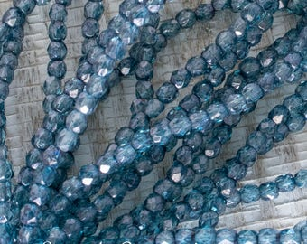 3mm Transparent Denim Fire Polished Round Beads, 4976, 50 Beads, 3mm Czech Firepolished Round Denim Blue Beads
