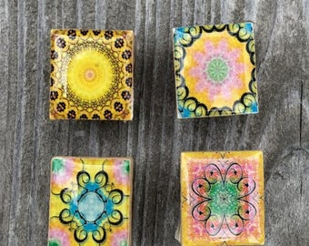 AUGUST SALE Pastel Mandela Magnets Repurposed Scrabble Tiles Yoga magnets