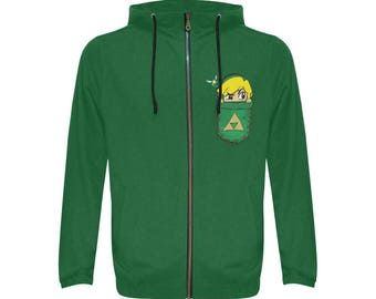 pocket link All Over Print Full Zip Hoodie for Men FREE SHIPPING world wide!