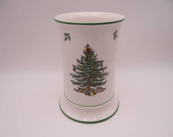 "Vintage Spode Christmas Tree Made in England 7 1/2"" Pierced Column Reindeer Candle Holder"