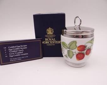 """Vintage King Size Royal Worcester Egg Coddler """"Strawberries"""" in Original Box"""