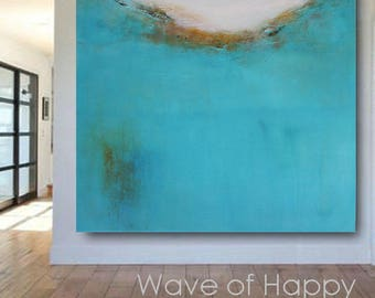 Large Big Modern Abstract Contemporary Original Wall Art Painting Canvas Print Turquoise Texture Living Room Bedroom Square Decorative Blue