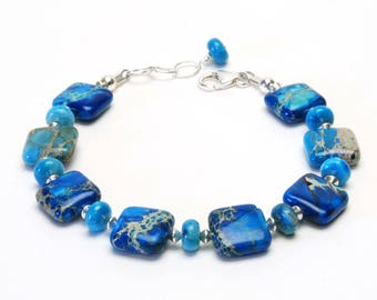 Ocean Blue Jasper and Sterling Silver Bracelet - Blue Gemstone Bracelet
