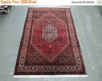 SUMMER CLEARANCE 1980s Vintage Hand-Knotted Bijar Persian Rug (3669)