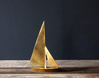 Vintage Mid Century Modern Bright Brass Sailboat Heavy