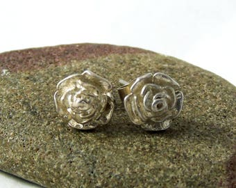 Vintage Silver Rose Stud Earrings, Silver Flower Earrings, Flower Studs, Three Dimensional Earrings