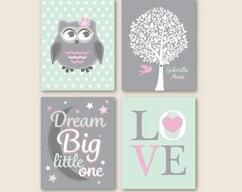 Baby Girl Pink Grey Nursery Owl Dream Big Little One Personalized Art // Pink, Gray, Mint Print Set of (4) - 5x7, 8x10, 11x14 Unframed