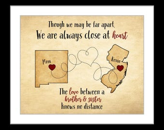 Christmas gift for brother, family gift brother and sister long distance gift, two maps, heart dotted line on map art print sister birthday