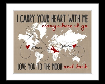 Mom, long distance gift, mom birthday gift, mom, grandma, christmas gift, mom send far away, mother daughter quote, present, 2 states maps