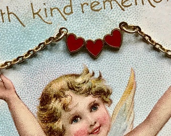 Vintage Emmons Necklace,For Little Girl,Enamel Heart,Valentines Day Gift, Necklace for a young lady,hearts necklace, party favors, gift #G36