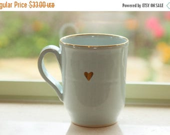 Last Chance - B-Day Sale Large Mug with Pure Gold Heart, Tea Mug, Ceramic Mug, Coffee Lovers' Mug