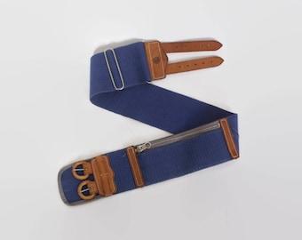Vintage 50s MONEY Belt / 1950s Bright Blue & Brown Leather Zippered Pocket Belt