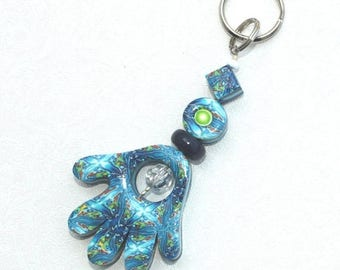 CIJ SALE Polymer clay Hamsa keychain, Accessories, handmade keychain in blue, white, turquoise and green