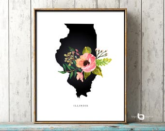 Illinois Map Wall Art, Illinois Map, IL, Flowers, Poster, Watercolor Art, Art Decor, USA Map, Watercolor Flowers, Print Poster
