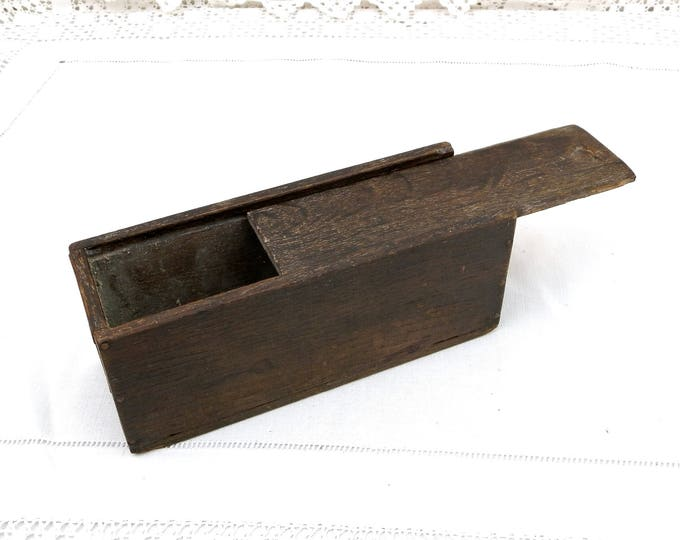 Antique French Primitive Dark Oak Wooden Rectangular Box with Sliding Lid, Rustic Farmhouse Oblong Box, Old Pencil Case, Country Decor
