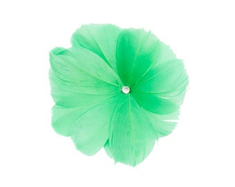"""4 1/2"""" Green Feather Flower with Crystal Center - Available in 12 Colors"""