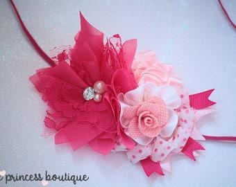 Think Pink - Headband, Baby Headband, Photography Prop, Couture Headband, Hair Clip. Pink Headband, Shabby Chic, Rose Headband,Valentine
