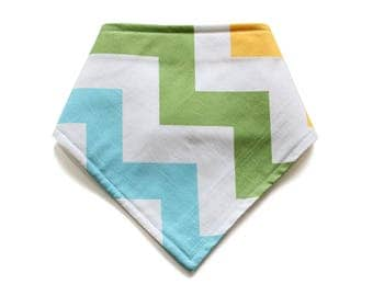 SALE || Adjustable Bandana Bib || Zap Yellow, Green & Aqua || Flannelette Backing