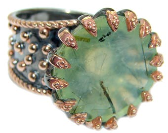 Prehnite Sterling Silver Ring - weight 11.80g - Size 7 - Adjustable - dim L- 7 8, W- 7 8, T- 3 8 inch - code 25-lip-17-22