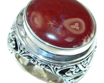 Mexican Fire Agate Sterling Silver Ring - weight 31.90g - Size 9 - dim L- 1 1 4, W -1 1 4, T -3 8 inch - code 6-paz-15-68