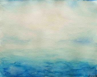 """Abstract Ocean Painting, Watercolour on paper 9"""" x 12"""" - """"Escapism 2"""""""