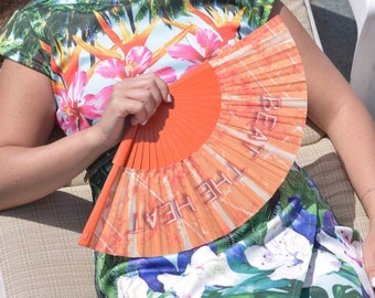 HANDHELD FAN | Graffiti style text on orange grunge background | unique gift for her | summer accessory hand fan | Free Shipping Worldwide