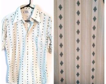 Mens Vintage Career Club Knit Green Short Sleeve Casual Shirt Sz 15.5