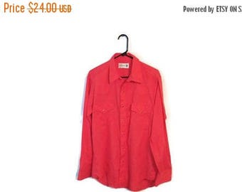 ON SALE Sears Roebuck Pearl Snap vintage shirt size Large 16 16 1/2 cherry red thin western cowboy