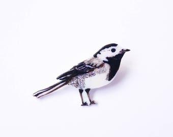 Pied Wagtail Pin - Illustrated Bird Pin - British Garden Bird - Shrink Plastic Pin - Bird Brooch - Bird Lover Gift - Bird Badge