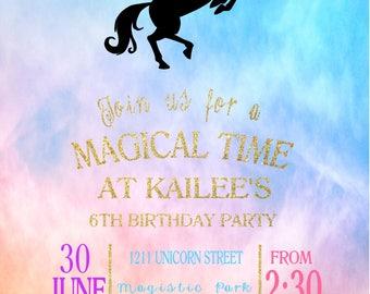 Whimsical Unicorn digital invite