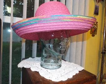 Vintage Women's Hat Pink Large Brim Fashion Accessories
