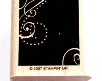 Shadow Dots and Swirl Rectangle Rubber Stamp Set retired from Stampin Up