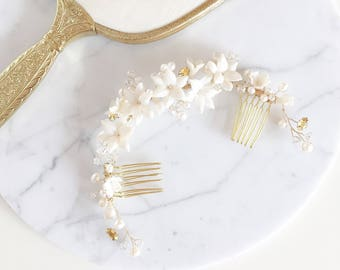 Ivory Pearl Flower Bridal Hairpiece, Wedding hair comb, weddings, bridal hair accessories, wedding accessory, bespoke Hairpiece, style 1036
