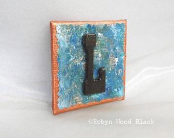 Rustic Letter L and Painted Verdigris Magnet 2 X 2