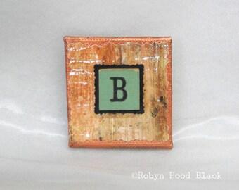 Fancy Vintage Anagram Tile Letter B Magnet 2 X 2