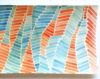 Watercolour painting original, Geometric Wall Art, Crimson and Blue artwork, Minimalist art, Modern Home, Small watercolour 7 x 11/ Rakla17