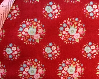 Tilda Thula Carmine Red Fabric  / Sweetheart Collection - Fat Quarter / 50 cm x 55 cm