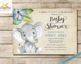 Elephant Baby Shower Invitation, Boy Shower Invitation, Digital File,  PRINTABLE _1302