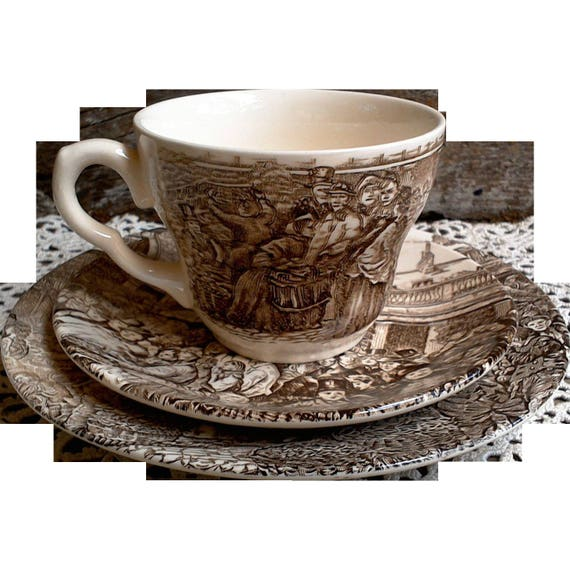 """Brown Transferware, Staffordshire, Tea Cup and Saucer with Plate, Dickens Brown Transferware, """"Covent Garden"""", Serving, Old World,"""