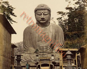 Giant Buddha image from 1800's digital download art print, for framing, collage, mixed media, altered art, Amida Buddha from Kamakura