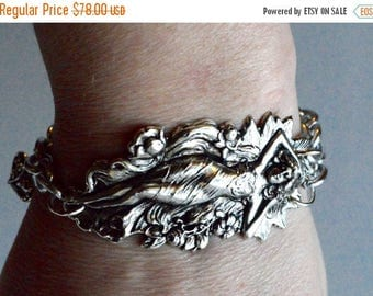 SALE 40% OFF Victorian Silver Plate Art Nouveau Repousse Cuff Bracelet Nymph Goddess Lady Maiden Chain Gothic Steampunk Victorian Waldorf Re