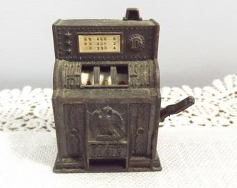 Vintage Slot Machine Miniature Pencil Sharpener, Retro Collectible Die Cast Office Supply, Hong Kong