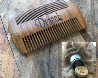 Custom Engraved Sandal Wood Beard Comb, Wooden Beard Comb, Personalized Beard Comb, Men's Gifts, Customized Beard Grooming Comb
