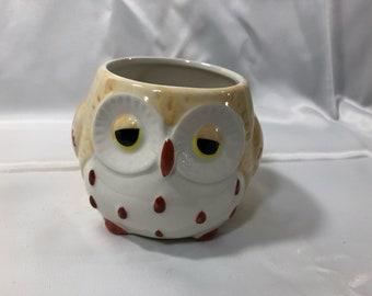 Vintage OWL Mug Ceramic, Hand Painted 12 Ounces