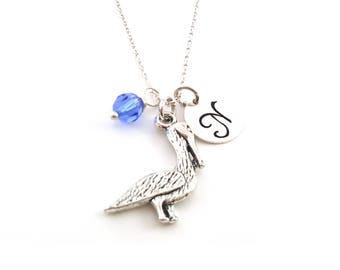Pelican Necklace - Birthstone Necklace - Personalized Necklace - Initial Necklace - Sterling Silver Necklace - Gift For Her