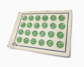 Old Bohemia Glass Buttons | Green