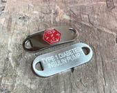 Medical Identification Alert Tag for Medical Bracelet I.D. Tag Interchangeable with Medical Bracelets includes FREE ENGRAVING