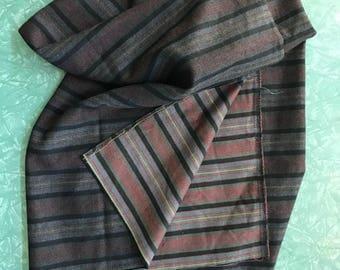 Length of Striped Wool Gabardine Fabric