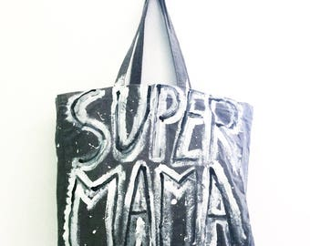 CUSTOM Super Mama Freestyle Outlined Cotton Shoulder Eco Tote BAG / Eve Damon